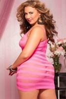 Сексуальное облегающее платье-сетка в полоску - фото 12185