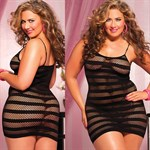 Сексуальное облегающее платье-сетка в полоску - фото 12189