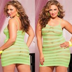 Сексуальное облегающее платье-сетка в полоску - фото 12192