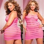 Сексуальное облегающее платье-сетка в полоску - фото 12183