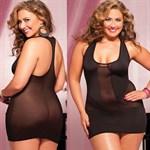 Короткое полупрозрачное платье увеличенного размера - фото 213967