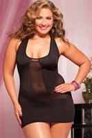 Короткое полупрозрачное платье увеличенного размера - фото 213968