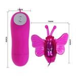 Розовый вибростимулятор с насадкой в виде бабочки - фото 138886