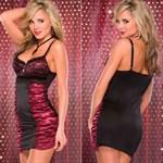 Платье с лифом на косточках BURGUNDY - фото 245257