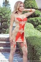 Сорочка с кружевной спинкой и контрастной вставкой Sexy Terracottas - фото 12377