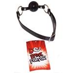 Силиконовый черный кляп-шарик на ремне Black Ballgag - фото 14443