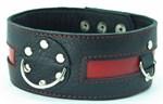 Чёрный кожаный ошейник с красной полосой и кольцами - фото 13075