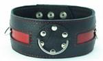 Чёрный кожаный ошейник с красной полосой и кольцами - фото 13074