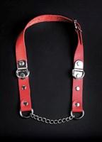 Красный кожаный кляп с цепью - фото 1520552