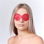 Красная кожаная маска на глаза для эротических игр - фото 1520568