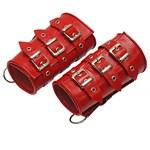 Красные кожаные манжеты - фото 1520576