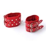 Красные кожаные наручники с ремешками - фото 1151856