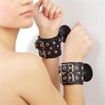 Чёрные наручники с ремешками на присосках  - фото 1151865