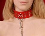 Красный кожаный ошейник с карабином и поводком - фото 1151966
