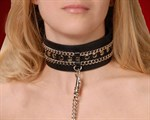 Чёрный ошейник с цепочками и поводком - фото 1151968
