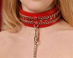 Красный ошейник с цепочками - фото 1151969