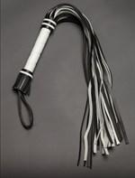 Чёрно-белая многохвостая плеть - 65 см. - фото 1152054
