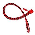 Плеть  Змея  из полосок кожи красного и черного цветов - 60 см. - фото 216018