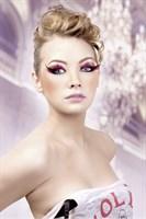 Розово-черные ресницы-перья - фото 532059