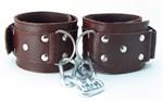 Коричневые кожаные наручники  - фото 1655864