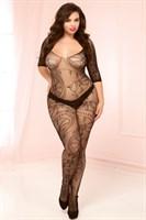 Кэтсьюит open-crotch с необычным цветочным орнаментом большого размера - фото 532238