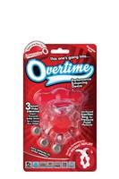 Виброкольцо с язычком и красным виброэлементом Overtime - фото 216259