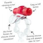 Виброкольцо с язычком и красным виброэлементом Overtime - фото 16014