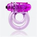 Фиолетовое двойное виброкольцо со стимулятором клитора Doubleo 6 - фото 1655998