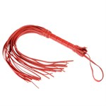 Гладкая красная плеть из кожи с жесткой рукоятью - 65 см. - фото 16493