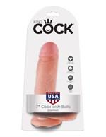 Телесный фаллоимитатор с мошонкой 7  Cock with Balls на присоске - 18 см. - фото 1152855