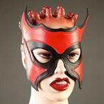 Кожаная маска-очки с красной вставкой - фото 1153016