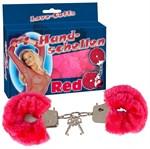 Малиновые меховые наручники Love Cuffs Red - фото 1656852