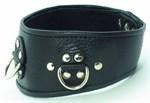 Чёрный кожаный ошейник с полукольцами и клёпками - фото 458606