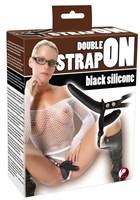 Женский страпон с вагинальной пробкой Double Strap On - 15 см. - фото 248719