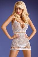 Коротенькое кружевное платье на тонких беретлях - фото 247558