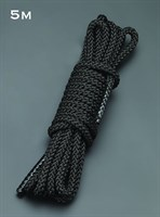 Черная шелковистая веревка для связывания - 5 м. - фото 198429