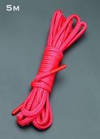 Красная шелковистая веревка для связывания - 5 м. - фото 94466