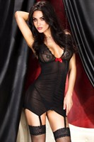 Сексуальный комплект из сорочки со сборочками и трусиков-стринг - фото 535210
