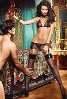 Игровой костюм рабыни: топ, мини-юбка, кружевные манжеты, воротник с цепью - фото 563517
