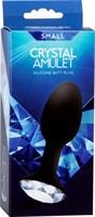 Чёрная анальная пробка с кристаллом в основании - 10,5 см. - фото 190640