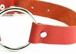 Красный кожаный кляп с кольцом - фото 1659234