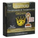 Ультратонкие ультрамягкие презервативы телесного цвета Okamoto Crown - 3 шт. - фото 461132