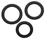 Набор из трех черных эрекционных колец - фото 1156188
