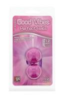 Фиолетовые вагинальные шарики на мягкой сцепке GOOD VIBES PERFECT BALLS - фото 1156276