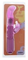 Розовый вибратор с загнутой вращающейся головкой и клиторальным стимулятором EXOTIK HUMMER - 23 см. - фото 1156523