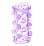 Фиолетовая насадка с шариками и шипами LUST CLUSTER - фото 1156617