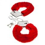 Красные меховые наручники Love с ключиками - фото 1156924