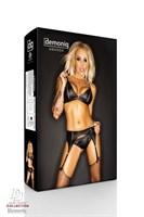 Комплект Amanda Premium с узенькими вставками сетки и чулками - фото 1526413