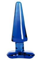 Синяя стеклянная анальная втулка - 11 см. - фото 146137