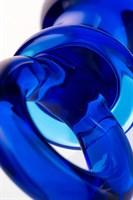 Синяя анальная пробка из стекла с ручкой-кольцом - 14 см. - фото 1315304